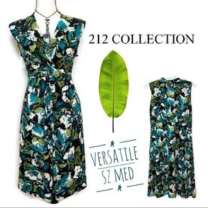 212 Collection   Front Knot Green Abstract Dress
